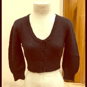 Sweaters - Pure wool black short button cardigan. Size S